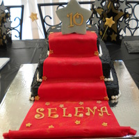 Red Carpet Cake 3 TIERED RED CARPET CAKE FOR MY NIECE'S 10TH BIRTHDAY PARTY. THE THEME WAS HOLLYWOOD/RED CARPET.