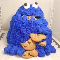 "Cookie Monster I MADE THIS FOR MY DAUGHTERS 25TH BIRTHDAY BECAUSE SHE INDEED IS THE ""ULTIMATE"" COOLIE MONSTER. THE FILLING WAS CHOCOLATE CHIP..."