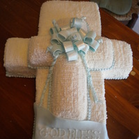 Cross Christening Cake THIS WAS FOR A CHRISTENING BUT COULD CERTAINLY BE USED FOR A COMMUNION. HALF WAS FILLED WITH VANILLA PUDDING, HALF CHOCOLATE PUDDING. I...