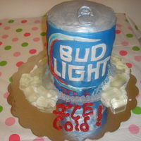 This Bud's For You Bud cake. Four 6 inch rounds. I didnt let the cakes settle before covering in fondant. Thats why there is the ever dreaded bulge to the...