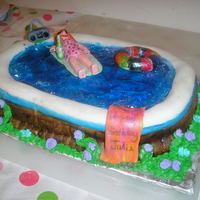 Living The Good Life Bday cake for BF. She told me things she liked and her pool is at the top of her list. She wanted me to suprise her-she was suprised! Dbl...