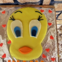 Sweety Tweety Chocolate sponge cake with chocolate BC, covered with fake marzipan type paste