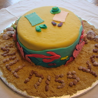 "Florida Cake This is my second fondant covered cake that I made for a friend who is moving to Florida. English is not my first language so I wrote ""..."