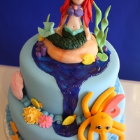 Mermaid Cake 10 inch and 8 inch tiers. One layer filled with canolli filling, other with strawberry. Iced in buttercream and covered in fondant. All...