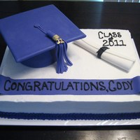 Graduation Cake This is a 13x18 inch buttercream cake. The mortarboard cap is cake with a fondant covered square board. The tassle and diploma are fondant...