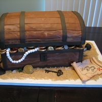 Treasure Chest This treasure chest cake is entirely edible. The bottom is two 9x13 cakes and the lid is two 9x13 cakes carved and covered in chocolate MMF...