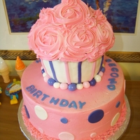 Giant Cupcake Giant Cupcake (wilton pan)second birthday, buttercream with fondant decor
