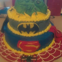 Super Hero Cake Cake made of buttercream frosting and MMF.