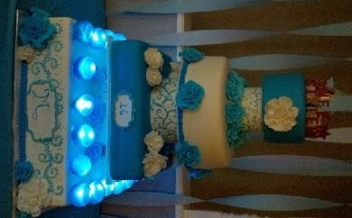 16Th Birthday Cake I made for my daughter's 16th b/d. Gelatin bubbles with holes in the bottom and LED lights inside.