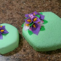 Cake For Final Wilton Fondant Class I'm a bit nervous about posting my cakes, but here they are. Flowers are gumpaste and the cake is an chocolate espresso cake with my...