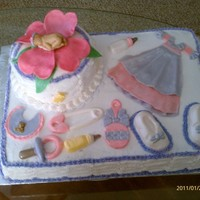 Baby Girl Shower Cake This cake I made for a good friend , baby items are edible made using fondant .