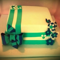 Purple And Teal Bow Cake