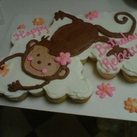 Monkey Cake To match the party invitation. Cupcake cake with all bc.