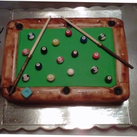 Pool Table Cake Chocolate cake iced in ganache covered in fondant.I made this cake for my hubby 55th birthday.