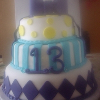 Birthday Cake For 13 Year Old Girl 3 tier vanilla cake covered in fondant.