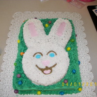 Bunny Cake I made this cake for my daughter's easter egg hunt at school. The little eggs are bubble gum, everything else is cake and icing.