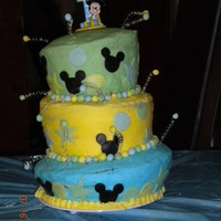 Mickey Topsy This was my first attempt at a topsy turvey cake. I made this for my nephew's 1st birthday. The bottom tier is chocolate and the top...