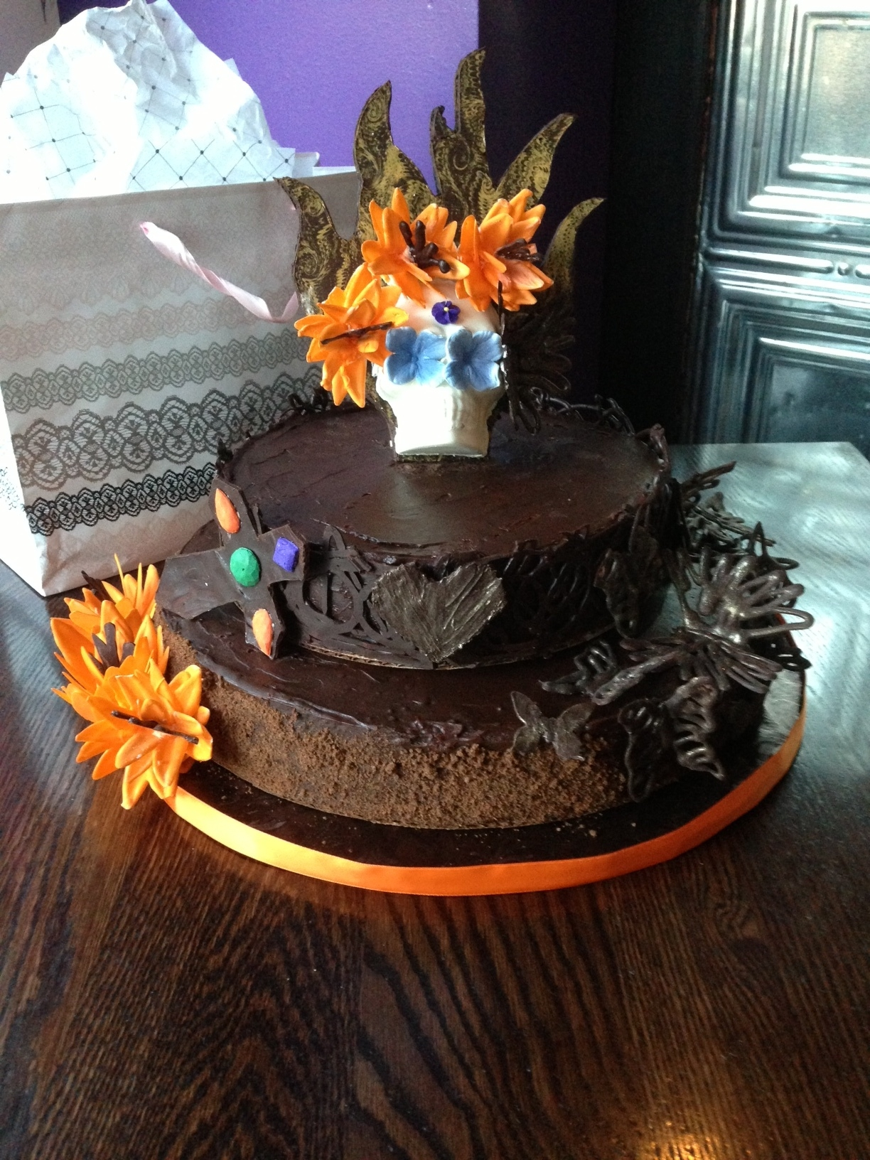 Day Of The Dead Chocolate Tequila Mousse Cake Day of the dead. Chocolate Tequila mousse cake.