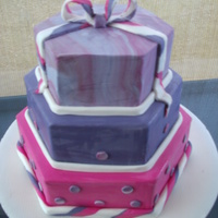 Three Teir Hexagon Girls Birthday Cake