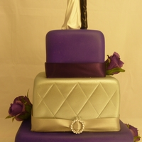 3 Teir Square Wedding Cake Air brushed purple & silver