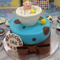 Boy Version Of A Previous Cake Much Easier This Time Ha Made For A Work Baby Shower Two Days Notice So I Was Happy With It Boy version of a previous cake- much easier this time - ha !! Made for a work baby shower- two days notice- so I was happy with it-