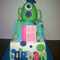 Monsters Inc. Baby Shower Cake 8in square and 6in round- buttercream and fondant/gum paste decorations- -- Mike is styro covered in fondant-- the original Mike was RKT...