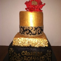 "Black And Gold Graduation Cake School colors -black and gold- 10-8-6 -inches. Really trying to be creative and get ""cleaner"" cakes- still need much more..."