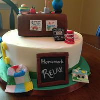 Teacher Retirement Cake Early Childhood Teacher I Added A Quilting Bag And Camping Magazines Those Are Her Interests Buttercream With F  Teacher retirement cake- Early Childhood teacher, I added a quilting bag and camping magazines, those are her interests. Buttercream with...