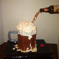 "Pouring Beer Mug  This is the first type of cake I have made like this- The thing I LOVE about this cake is the ""bar top""-- I totally McGuyver&#039..."