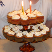 Banana Cupcakes  Banana cupcakes with cream cheese frosting. Made for my girlfriends birthday. Displayed on amber glass cake stands (I have a small...