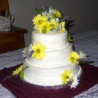 "My First Wedding Cake  This is my very first ""real"" wedding cake. I made a few as a kid for fake weddings. Yes I was that girl, but I was never the..."