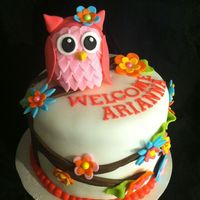Arianna's Owl Cake Strawberry cake/buttercream icing. Owl is RKT covered in fondant. Flowers are fondant also.