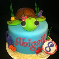 Sea Turtle Birthday Cake 6'' cake and matching cupcakes. White cake/buttercream icing. The turtle is RKT covered in fondant. All other decorations are...