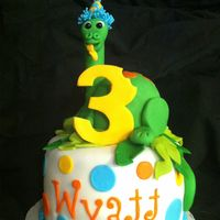 Wyatt's Dinosaur Cake   Dino is RKT covered in fondant.