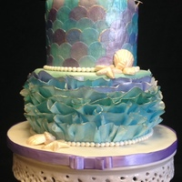 "Decoupage' Mermaid Cake I was requested to make a ""mermaid"" cake for an adult's birthday, but didn't want to do a literal interpretation and..."