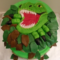 T Rex Dinosaur Cake For Caleb Design Is Not My Original Design And Is Based On A Phone Messagephoto The Mother Of The Birthday Boy Sent M T-Rex Dinosaur Cake for Caleb - design is not my original design and is based on a phone message/photo the mother of the birthday boy sent...