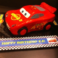 Lightning Mcqueen I made this Lightning McQueen Cake for our God son. He is a fan of Lightning McQueen. He loved it.