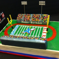 High School Football Stadium This cake was for my friend?s son and his friend that were celebrating their 14 birthday. They are both going to attend the same High...