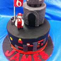"Super Mario Bros Cake - World 8 My nephew wanted a Super Mario Bros Cake, he specifically asked for the ""lava world"""