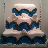 1St Wedding Cake Chocolate cake black, blue and white buttercream. It was horrific, but good.