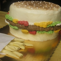 Hamburger And Fries   Hamburger buttercream and fondant fies.