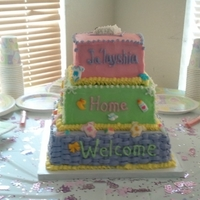 1St 3 Tier Cake   Cake is10, 8, and 6 inches with buttercreame and sugar candies.