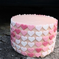 "Pink Ombre Mother's Dake Cake Four layer 7"" fresh strawberry cake (from scratch recipe) filled with homemade strawberry curd and frosted with (strawberry) German..."