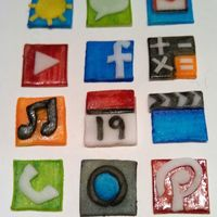 Candy Iphone iPhone icons made from Wilton rolled fondant and edible markers.
