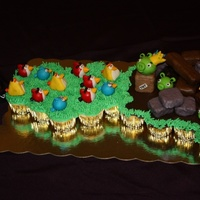 Angry Bird Cupcake-Cake Half yellow and half chocolate cupcakes frosted with American (all shortening) buttercream. Angry bird toppers all made from marshmallow...