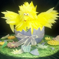 Baby Big Bird Easter Cake Baby bird's feathers are made of edible paper. Egg shell and flowers are gum paste. It was for spring but can also be for Easter.