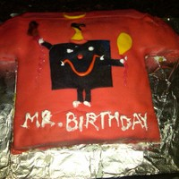"Mr.cake I made this cake for my nephew who loves to wear his ""Mr"" tees."