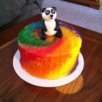 Tie Dye Panda Birthday Airbrushed BC and fondant panda. This was my first attempt at a fondant figurine