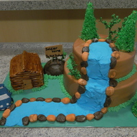 Log Cabin In The Mountains I LOVE THIS CAKE!!!!!! I spent a TON of hours on it and made it for a women who wanted to do a surprise party for her husbands return home...