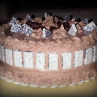 Chocolate Cake With Kalua And Chocolate Icing, Cover In Hershey's Cookies And Cream